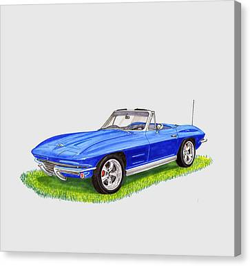 Canvas Print featuring the painting 1964 Corvette Stingray by Jack Pumphrey