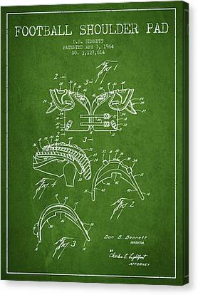 1964 Football Shoulder Pad Patent - Green Canvas Print by Aged Pixel