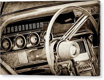Canvas Print featuring the photograph 1964 Ford Thunderbird Steering Wheel -0280s by Jill Reger