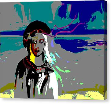 Canvas Print featuring the digital art 1964 - Walk On The Seaside by Irmgard Schoendorf Welch