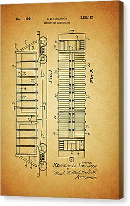 1964 Railroad Car Patent Canvas Print by Dan Sproul