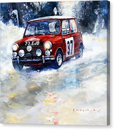 1964 Rallye Monte Carlo Mini Cooper S Hopkirk Liddon Winner Canvas Print by Yuriy Shevchuk
