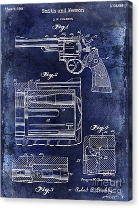 1964 Smith And Wesson Gun Patent Blue Canvas Print