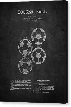1964 Soccer Ball Patent - Charcoal - Nb Canvas Print by Aged Pixel