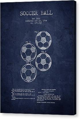 1964 Soccer Ball Patent - Navy Blue - Nb Canvas Print by Aged Pixel