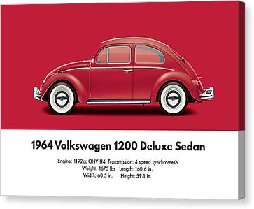 1964 Volkswagen 1200 Deluxe Sedan - Ruby Red Canvas Print by Ed Jackson