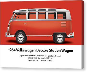 1964 Volkswagen Deluxe Station Wagon - Sealing Wax Red Canvas Print by Ed Jackson