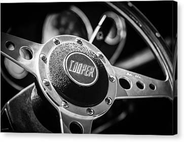 1965 Austin Mini Cooper S Steering Wheel Emblem -0634bw Canvas Print by Jill Reger