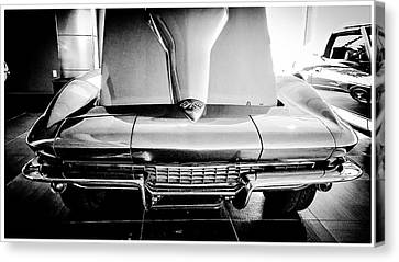 1965 Chevrolet Corvette Stingray Convertible In Black And White  Canvas Print