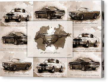 1965 Ford Mustang Collage I Canvas Print