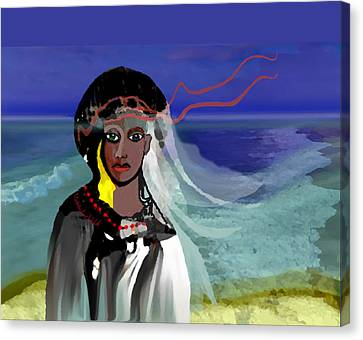 Canvas Print featuring the digital art 1965 - Walk On The Oceanside by Irmgard Schoendorf Welch