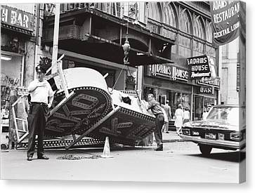 Canvas Print featuring the photograph 1965 Removing Rko Theater Sign Boston by Historic Image