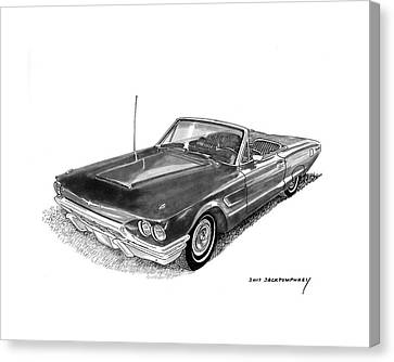 Canvas Print featuring the drawing 1965 Thunderbird Convertible By Ford by Jack Pumphrey