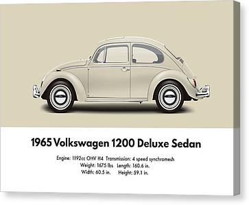 Profile Canvas Print - 1965 Volkswagen 1200 Deluxe Sedan - Panama Beige by Ed Jackson
