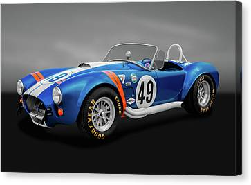 Canvas Print featuring the photograph 1966 427 Shelby Cobra  -  1966shelby427cobragry170660 by Frank J Benz