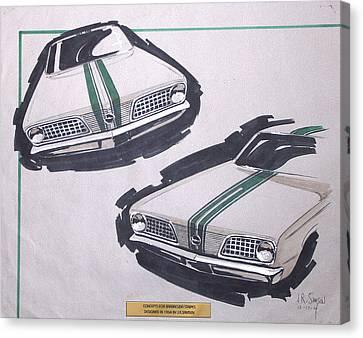Car Canvas Print - 1966 Barracuda  Plymouth Vintage Styling Design Concept Rendering Sketch by John Samsen