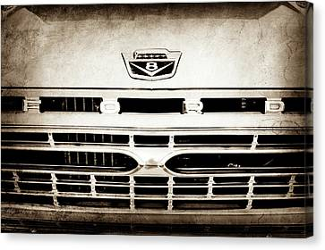 Gmc Canvas Print - 1966 Ford F100 Pickup Truck Grille Emblem -113s by Jill Reger