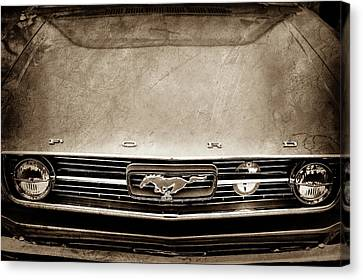 1966 Ford Mustang Front End Grille Emblem -0122s Canvas Print by Jill Reger