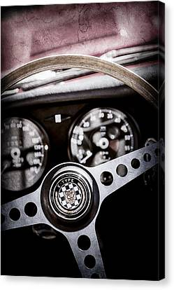 1966 Jaguar Xk-e Steering Wheel Emblem -2489ac Canvas Print