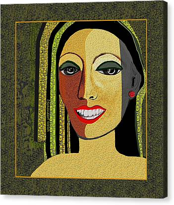 Canvas Print featuring the digital art 1966 - Lady With Beautiful Teeth by Irmgard Schoendorf Welch