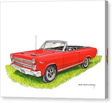 Canvas Print featuring the painting 1966 Mercury Cyclone Convertible G T by Jack Pumphrey