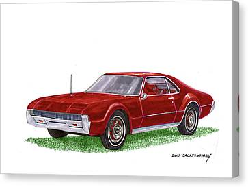 Canvas Print featuring the painting 1966 Oldsmobile Toronado by Jack Pumphrey