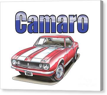 Canvas Print featuring the digital art 1967 Camaro by Thomas J Herring