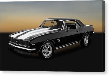 1967 Chevrolet Camaro Ss/rs 396  -  1967sscamarobw2483 Canvas Print by Frank J Benz