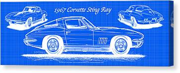 1967 Corvette Sting Ray Coupe Reversed Blueprint Canvas Print by K Scott Teeters