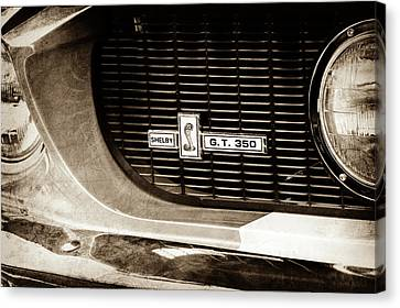 Canvas Print featuring the photograph 1967 Ford Gt 350 Shelby Clone Grille Emblem -0759s by Jill Reger