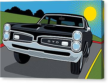 Canvas Print featuring the digital art 1967 Pontiac Gto Sunday Cruise by Ron Magnes