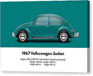 1967 Volkswagen Sedan - Java Green Canvas Print