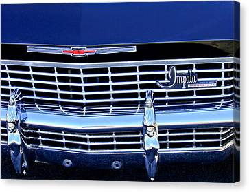 Grill Canvas Print - 1968 Chevrolet Impala Ss Grille Emblem by Jill Reger
