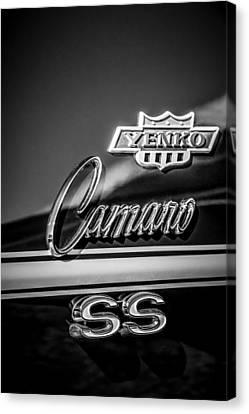 1968 Chevrolet Yenko Super Camaro Ss Side Emblem -1762bw Canvas Print