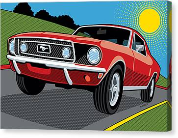 Canvas Print featuring the digital art 1968 Ford Mustang Sunday Cruise by Ron Magnes