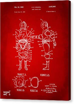 1968 Hard Space Suit Patent Artwork - Red Canvas Print by Nikki Marie Smith
