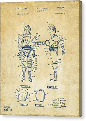 1968 Hard Space Suit Patent Artwork - Vintage Canvas Print by Nikki Marie Smith
