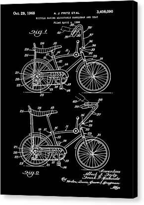1968 Schwinn Stingray Patent In Black Canvas Print by Bill Cannon