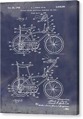 1968 Schwinn Stingray Patent In Blueprint Canvas Print by Bill Cannon