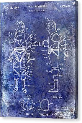 1968 Space Suit Patent Blue Canvas Print by Jon Neidert