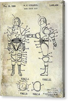 Outer Space Canvas Print - 1968 Space Suit Patent by Jon Neidert