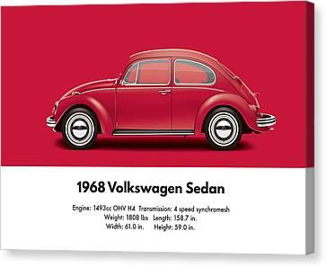 1968 Volkswagen Sedan - Royal Red Canvas Print