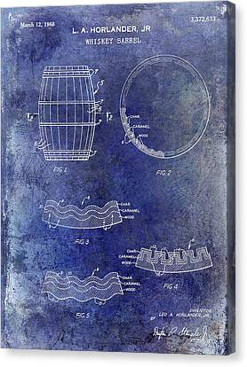 1968 Whiskey Barrel Patent Blue Canvas Print
