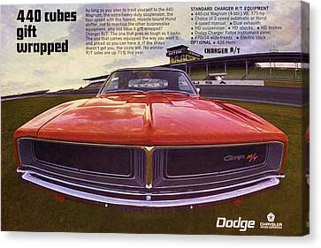 Gratiot Canvas Print - 1969 Dodge Charger R/t - 440 Cubes Gift Wrapped by Digital Repro Depot