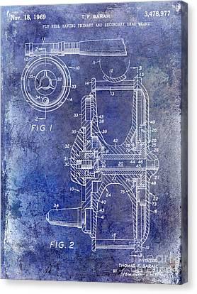 Trout Canvas Print - 1969 Fly Reel Patent Blue by Jon Neidert