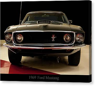 Canvas Print featuring the digital art 1969 Ford Mustang by Chris Flees