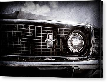 1969 Ford Mustang Grille Emblem -0129ac Canvas Print by Jill Reger