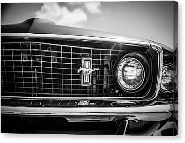 1969 Ford Mustang Grille Emblem -0129bw Canvas Print by Jill Reger