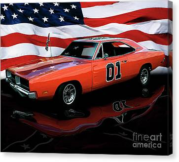 Canvas Print featuring the photograph 1969 General Lee by Peter Piatt