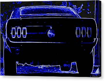 1969 Mustang In Neon 2 Canvas Print